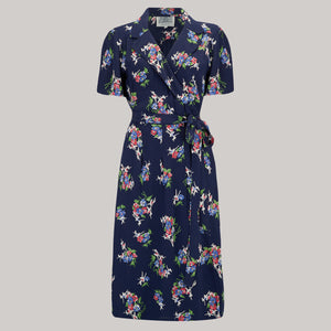 "The Seamstress of Bloomsbury ""Peggy"" Wrap Dress in Navy Floral Dancer Print, Classic 1940s True Vintage Inspired - RocknRomance Clothing"