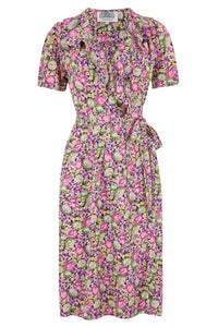 "The Seamstress of Bloomsbury ""Peggy Ruffle"" Wrap Dress In Pink/Lilac Floral, Classic 1940s True Vintage Style - RocknRomance Clothing"