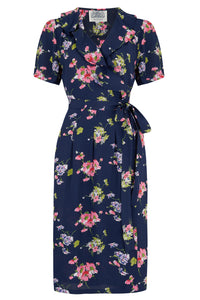 "The Seamstress of Bloomsbury ""Peggy Ruffle"" Wrap Dress In Navy Mayflower, Classic 1940s True Vintage Style - RocknRomance Clothing"