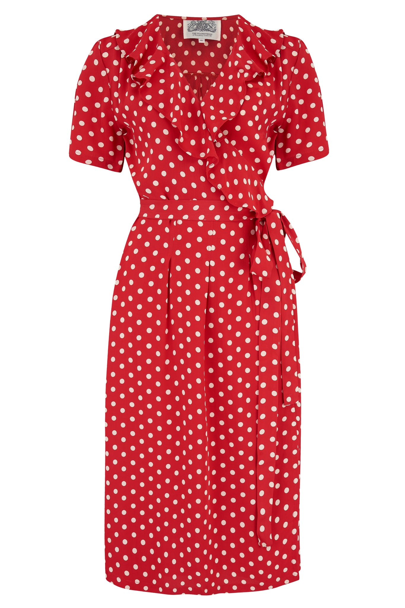 "The Seamstress of Bloomsbury ""Peggy Ruffle"" Wrap Dress In Red with white Polka dot, Classic 1940s True Vintage Style - RocknRomance Clothing"