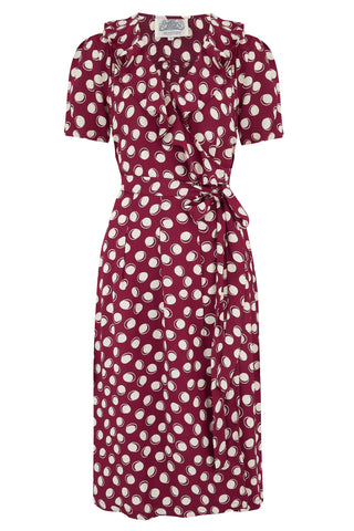 "The Seamstress of Bloomsbury ""Peggy Ruffle"" Wrap Dress In Wine Moonshine Spot, Classic 1940s True Vintage Style - RocknRomance Clothing"