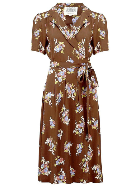 "The Seamstress of Bloomsbury ""Peggy"" Wrap Dress in Brown Floral Dancer Print, Classic 1940s Vintage Inspired - RocknRomance Clothing"