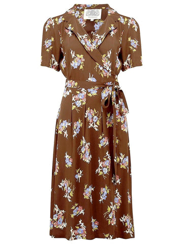 "The Seamstress Of Bloomsbury ""Peggy"" Wrap Dress in Brown Floral Dancer Print, Classic 1940s Vintage Inspired"