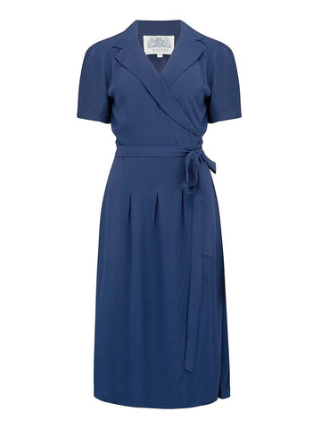 "The Seamstress Of Bloomsbury ""Peggy"" Wrap Dress in Navy Blue Print, Classic 1940s Vintage Style"
