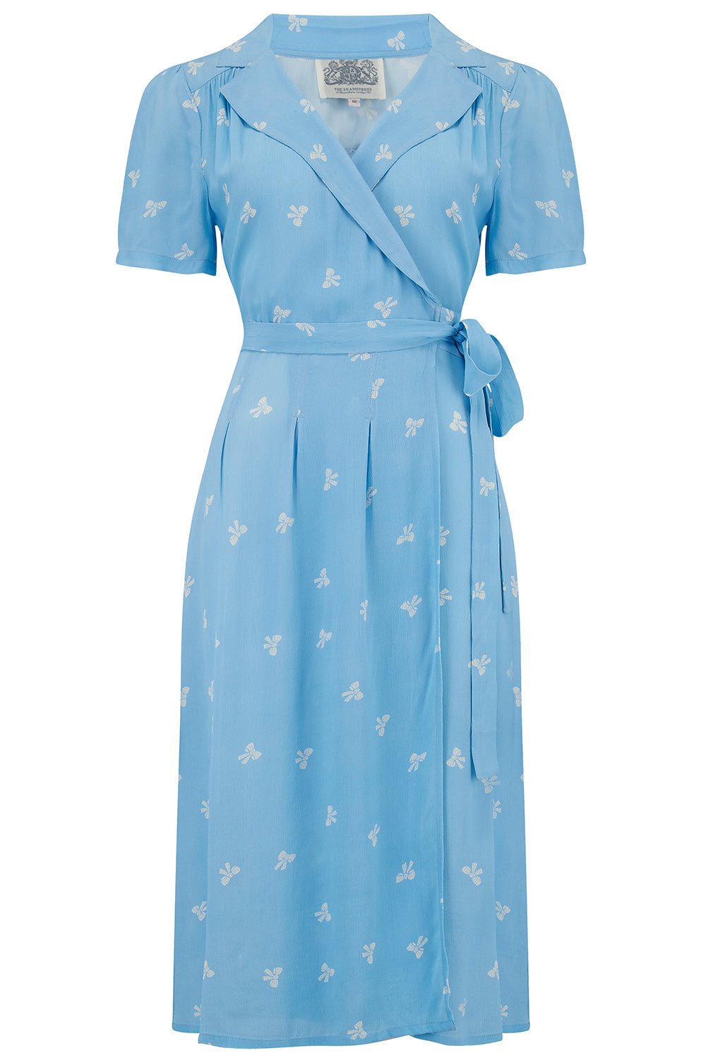 "The Seamstress of Bloomsbury ""Peggy"" Wrap Dress in Sky Blue with Bow Print, Classic & Authentic 1940s Vintage Style - RocknRomance Clothing"