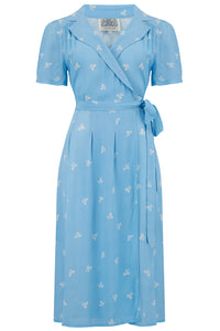 """Iris"" Tea Dress in Sky Blue Bow Print, Classic & Authentic 1940s Style at its Best Seamstress Of Bloomsbury"