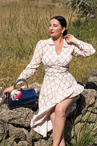 The Seamstress Of Bloomsbury Clarice Long Sleeve Dress in Rose kiss print, Classic 1940s Vintage Inspired Style - RocknRomance Clothing