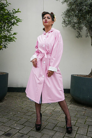 "Elements Rain Wear Authentic 1940s & 50s Style ""Vintage Rain Mac & Headscarf/Bonnet"" in Pink Gingham by Elements Rainwear - RocknRomance Clothing"