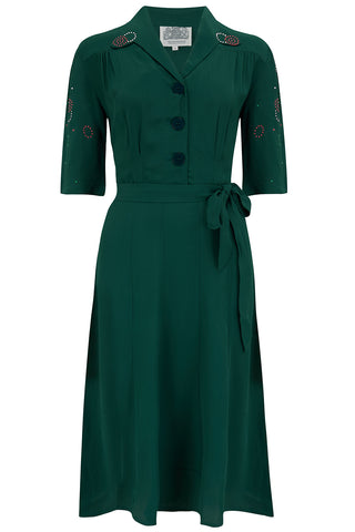 """Pip"" Shirtwaist Dress in Green with sleeve embellishment, Authentic 1940s Vintage Style - RocknRomance True 1940s & 1950s Vintage Style"