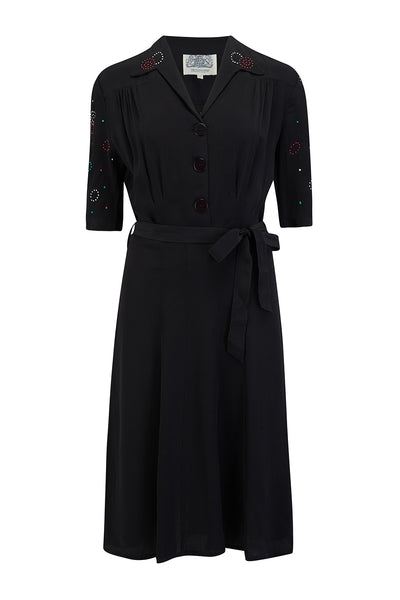 """Pip"" Shirtwaist Dress in Black with sleeve embellishment, Authentic 1940s Vintage Style"