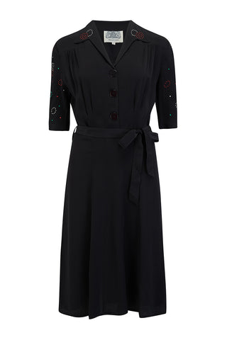 "The Seamstress Of Bloomsbury ""Pip"" Shirtwaist Dress in Black with sleeve embellishment, Authentic 1940s Vintage Style - RocknRomance Clothing"