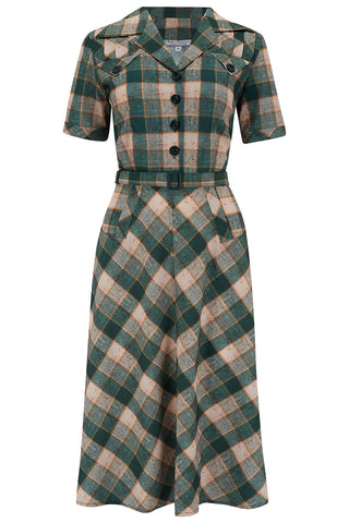 "The ""Polly"" Dress in Green Check Print, True & Authentic 1950s Vintage Style - RocknRomance True 1940s & 1950s Vintage Style"