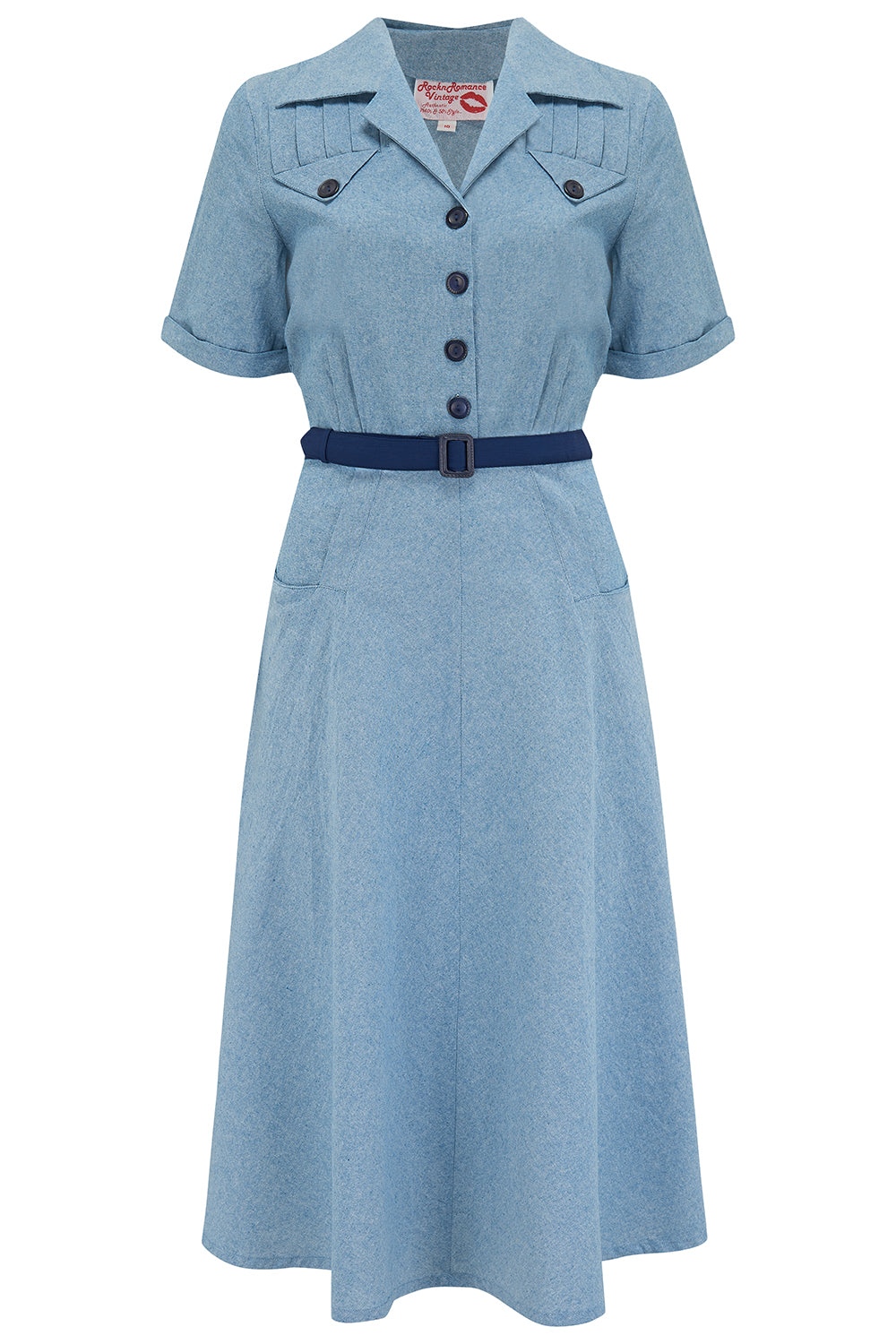 Pin Up Dresses | Pinup Clothing & Fashion The Polly Dress in Lightweight Denim Cotton Cambrey True  Authentic 1950s Vintage Style £49.00 AT vintagedancer.com