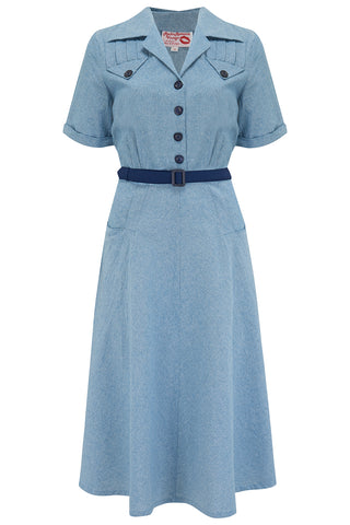 "The ""Polly"" Dress in Lightweight Denim Cotton Cambrey, True & Authentic 1950s Vintage Style - RocknRomance True 1940s & 1950s Vintage Style"
