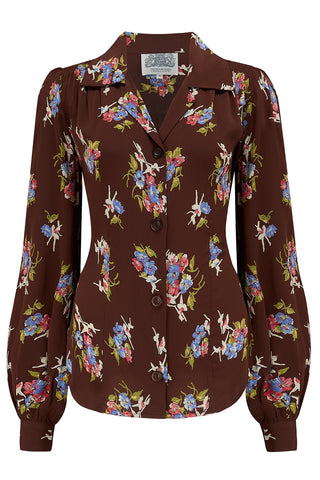 Poppy Long Sleeve Blouse in Brown Floral, Authentic & Classic 1940s Vintage Style - RocknRomance True 1940s & 1950s Vintage Style