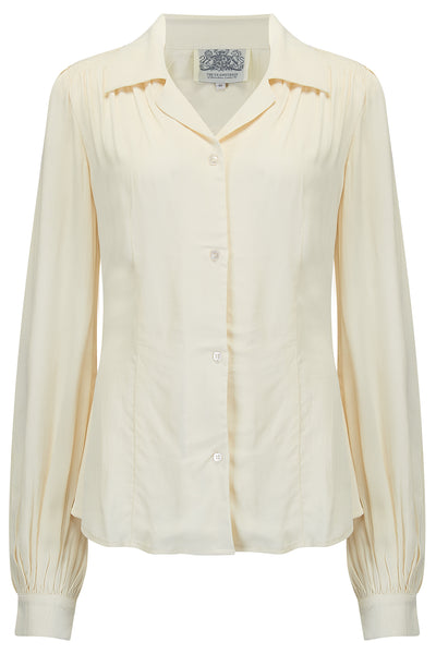 Poppy Long Sleeve Blouse in Cream, Authentic & Classic 1940s Vintage Style