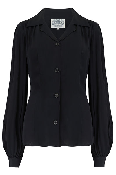 Poppy Long Sleeve Blouse in Solid Black, Authentic & Classic 1940s Vintage Style