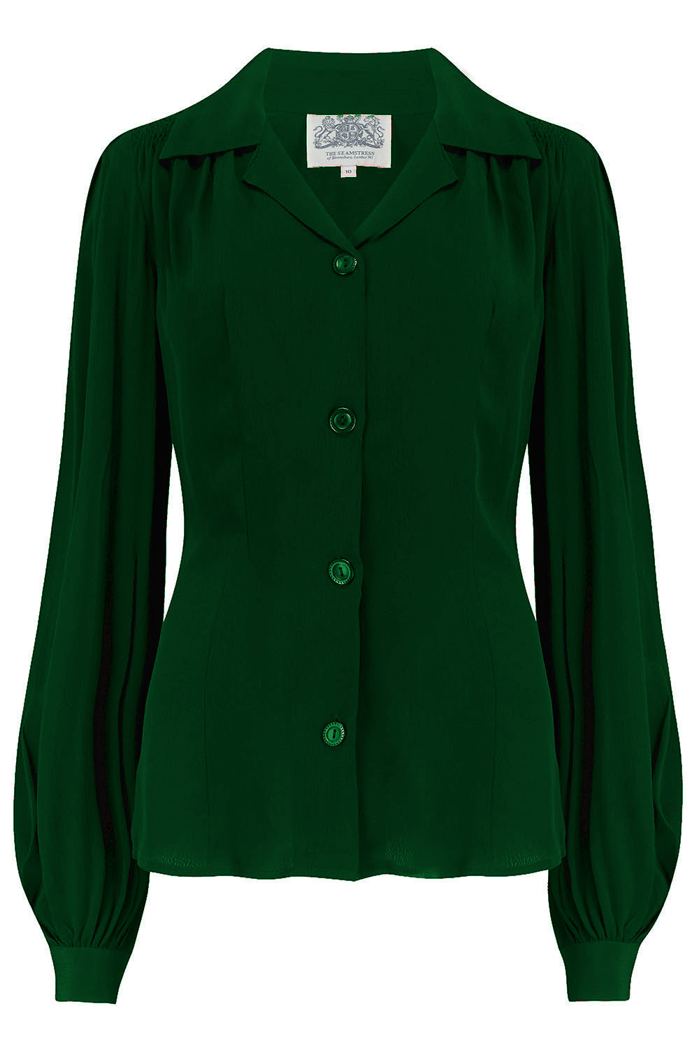 The Seamstress Of Bloomsbury Poppy Long Sleeve Blouse in Green, Authentic & Classic 1940s Vintage Style - RocknRomance Clothing