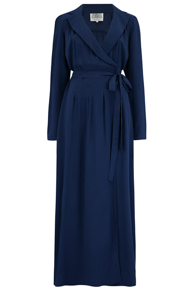 1940's Hollywood Pyjama Set In Solid navy - RocknRomance True 1940s & 1950s Vintage Style