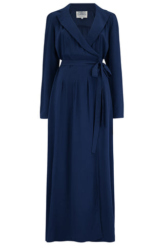 The Seamstress Of Bloomsbury 1940's Hollywood Pyjama Set In Solid navy - RocknRomance Clothing