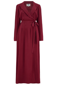 The Seamstress Of Bloomsbury 1940's Hollywood Pyjama Set In Wine - RocknRomance Clothing