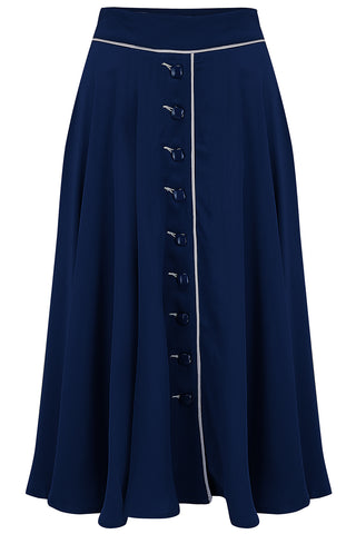 """Rita"" Swing Skirt in Navy with Ivory Detailing, Classic 1940s Style - RocknRomance True 1940s & 1950s Vintage Style"