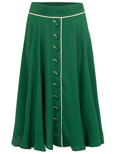 "The Seamstress of Bloomsbury ""Rita"" Swing Skirt in Green with Ivory Detailing, Classic 1940s Vintage Style - RocknRomance Clothing"