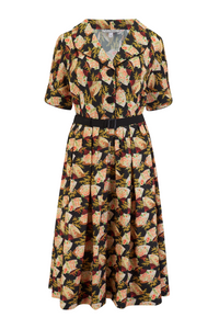 """Ritzy"" Swing Dress in Japanese Fan Print, Authentic Vintage 1950s Style,, New for AW19"