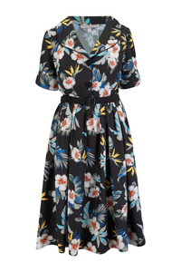"""Ritzy"" Swing Dress in Black Hawaiian Print, Authentic Vintage 1950s Style,, New for AW19"