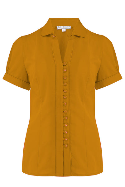 "Rock n Romance The ""Margot"" Blouse in Solid Mustard, True & Classic Easy To Wear Vintage Style - RocknRomance Clothing"