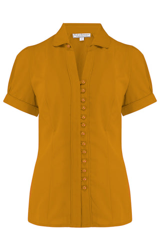 "Rock n Romance **Pre-Order* The ""Margot"" Blouse in Solid Mustard, True & Classic Easy To Wear Vintage Style - RocknRomance Clothing"