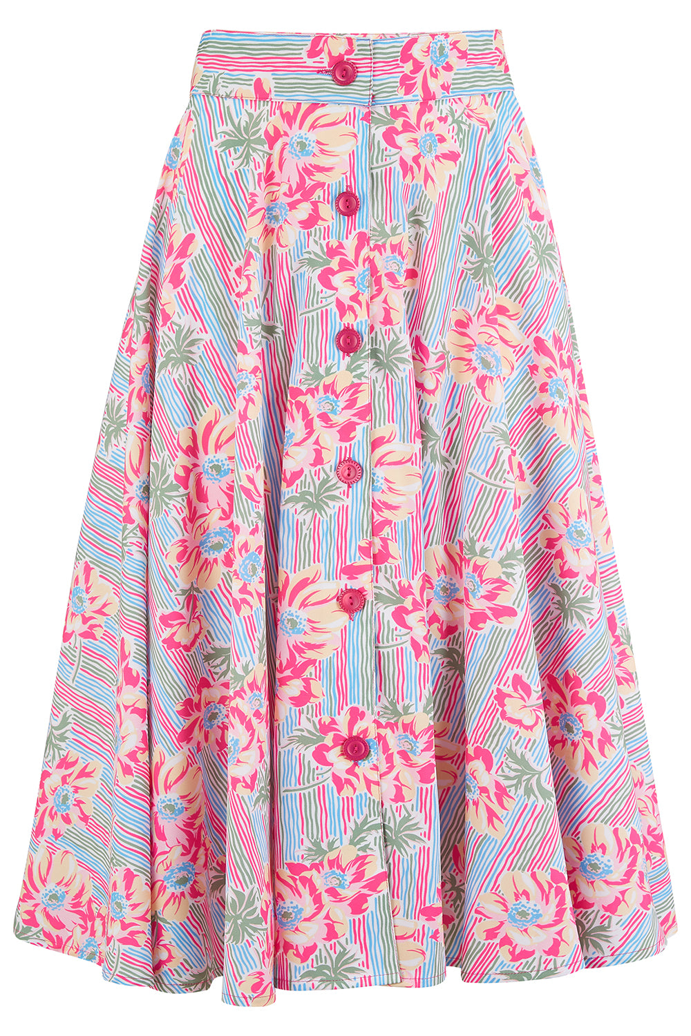 "Pre-Order.. The ""Beverly"" Button Front Full Circle Skirt with Pockets in Pacific Garden Print, Authentic 1950s Tiki Vintage Style - RocknRomance True 1940s & 1950s Vintage Style"