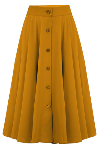 "Rock n Romance **Pre-Order** The ""Beverly"" Button Front Full Circle Skirt with Pockets in Solid Mustard, True 1950s Vintage Style - RocknRomance Clothing"