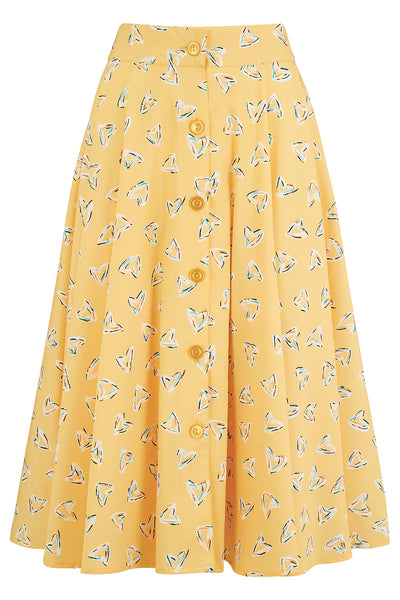 "Rock n Romance ""Beverly"" Button Front Full Circle Skirt with Pockets in Yellow Abstract Heart Print, Authentic 1950s Vintage Style - RocknRomance Clothing"