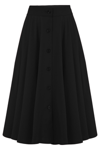 "Rock n Romance ""Beverly"" Button Front Full Circle Skirt with Pockets in Solid Black, Authentic 1950s Vintage Style - RocknRomance Clothing"