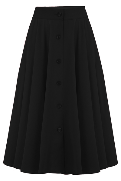 "Rock n Romance The ""Beverly"" Button Front Full Circle Skirt with Pockets in Solid Black, Authentic 1950s Vintage Style - RocknRomance Clothing"