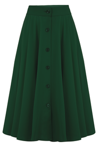 "Rock n Romance ""Beverly"" Button Front Full Circle Skirt with Pockets in Solid Green, Authentic 1950s Vintage Style - RocknRomance Clothing"