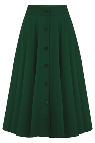 "Rock n Romance Pre-Launch.. ""Beverly"" Button Front Full Circle Skirt with Pockets in Solid Green, Authentic 1950s Tiki Vintage Style - RocknRomance Clothing"