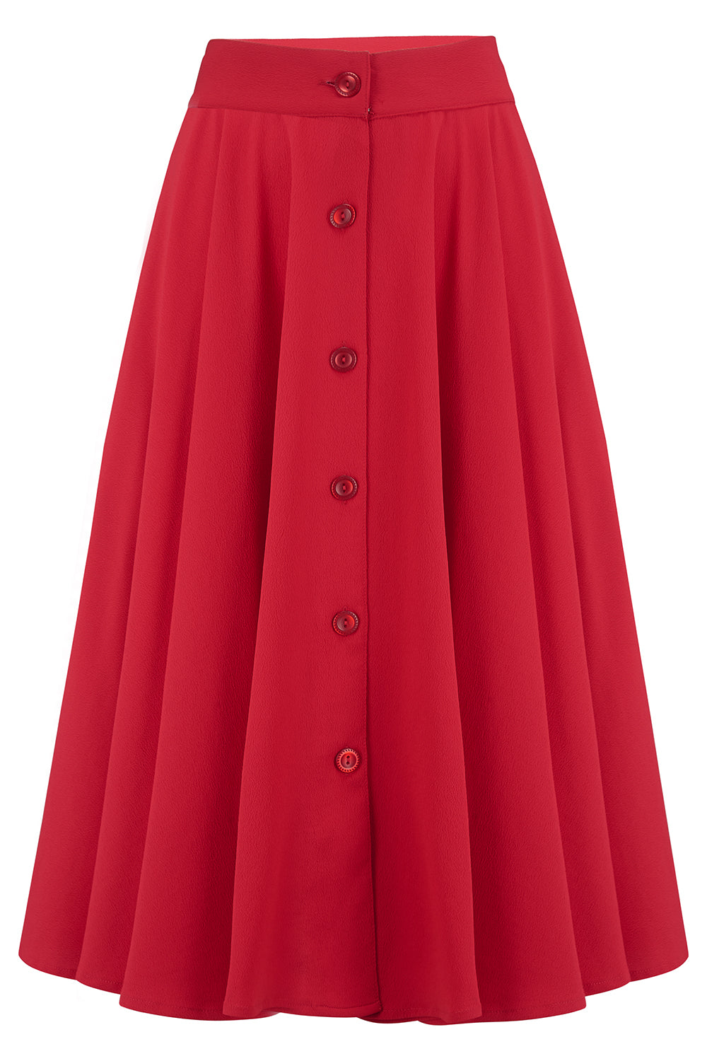"Rock n Romance ""Beverly"" Button Front Full Circle Skirt with Pockets in Solid Red, Authentic 1950s Vintage Style - RocknRomance Clothing"