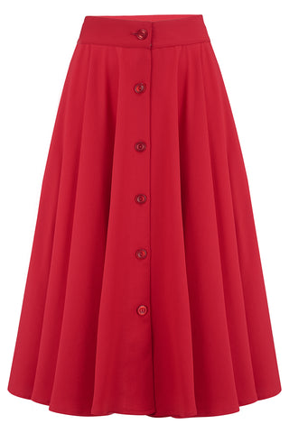 "Rock n Romance Pre-Launch.. ""Beverly"" Button Front Full Circle Skirt with Pockets in Solid Red, Authentic 1950s Tiki Vintage Style - RocknRomance Clothing"