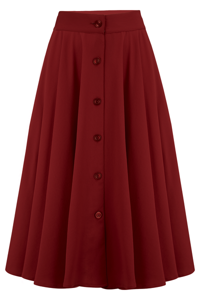 "Rock n Romance The ""Beverly"" Button Front Full Circle Skirt with Pockets in Solid Wine, True 1950s Vintage Style - RocknRomance Clothing"