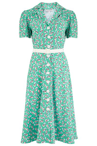 "Rock n Romance Pre-Launch.. ""Charlene"" Shirtwaister Dress in Green Abstract Polka Print, Perfect 1950s Style - RocknRomance Clothing"