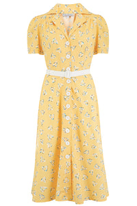 "Rock n Romance Pre-Launch.. ""Charlene"" Shirtwaister Dress in Yellow Abstract Heart Print, Perfect 1950s Style - RocknRomance Clothing"