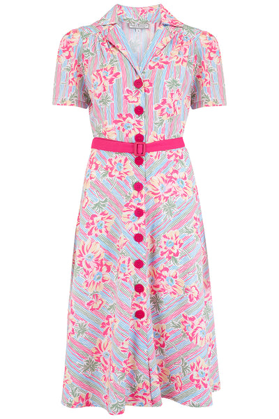 "The ""Charlene"" Shirtwaister Dress in Pacific Garden Print, True & Authentic 1950s Vintage Style - RocknRomance True 1940s & 1950s Vintage Style"
