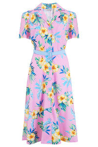 "Rock n Romance Pre-Launch.. ""Charlene"" Shirtwaister Dress in Pink Hawaiian, Perfect 1950s Style - RocknRomance Clothing"