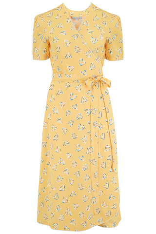 "Rock n Romance ""Cora"" Full Wrap Dress in Yellow Abstract Heart Print, Perfect 1950s Style - RocknRomance Clothing"
