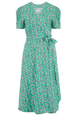 "Rock n Romance Pre-Launch.. ""Cora"" Full Wrap Dress in Green Abstract Polka Print, Perfect 1950s Style - RocknRomance Clothing"