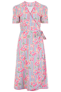 "Rock n Romance Pre-Launch.. ""Cora"" Full Wrap Dress in Pacific Garden Print, Perfect 1950s Style - RocknRomance Clothing"