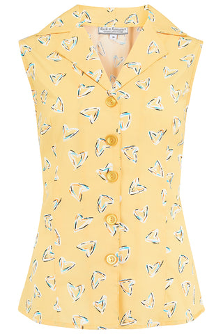 "Rock n Romance ""Gladys"" Sleeveless Summer Blouse in Yellow Abstract Heart Print, Classic Vintage 1950s Inspired Style - RocknRomance Clothing"