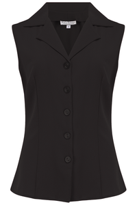 "Rock n Romance Pre-Launch.. ""Gladys"" Sleeveless Summer Blouse in Solid Black, Classic Vintage 1950s Inspired Style - RocknRomance Clothing"